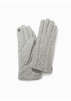 Look By M Grey Half Knitted Cable Gloves