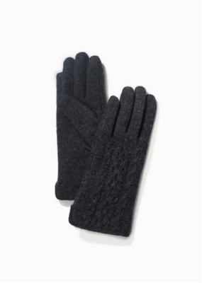 Look By M Black Half Knitted Cable Gloves