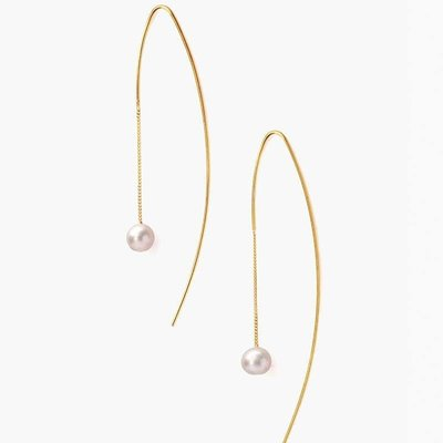 CHAN LUU Grey Floating Pearl Thread Thru Earrings