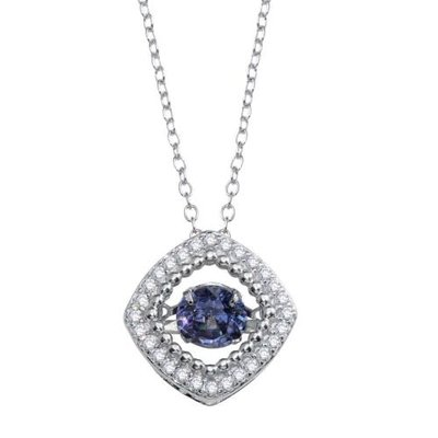 Sterling Silver Blue Dancing CZ Square Necklace