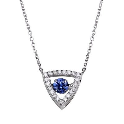 Sterling Silver Blue Dancing CZ Triangle Necklace