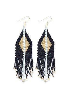 Ink + Alloy Black & Gold Luxe Diamond Fringe Earring