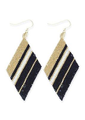 Ink + Alloy Gold Black & Ivory Diamond Luxe Stripe Earring
