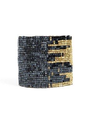 Ink + Alloy Blue & Gold Stretch Bracelet