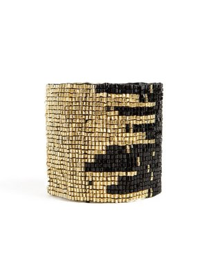 Ink + Alloy Black & Gold Stretch Bracelet