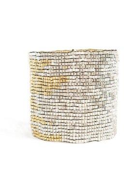 Ink + Alloy Silver & Gold Stretch Bracelet