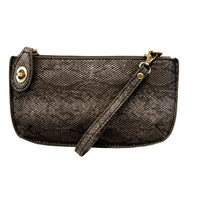 Joy Susan Black Python Crossbody Wristlet Clutch