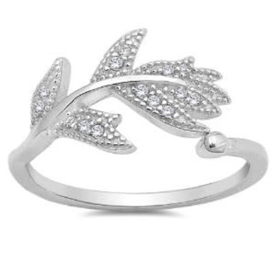 Sterling Silver Feather CZ Ring