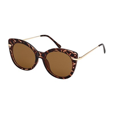 Blue Gem Honey Tortoise w Gold Metal Arms & Brown Lens