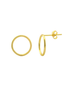 Sterling Silver Gold Plated Circle Stud