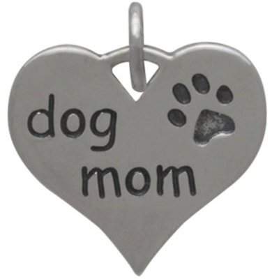 Sterling Silver Heart Dog Mom Charm