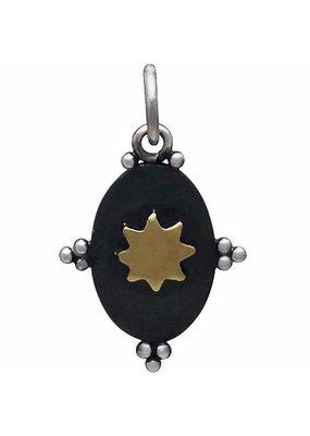 Sterling Silver Oxidized Bronze Sun Charm