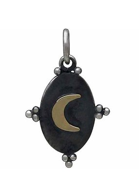 Sterling Silver Oxidized Bronze Moon Charm