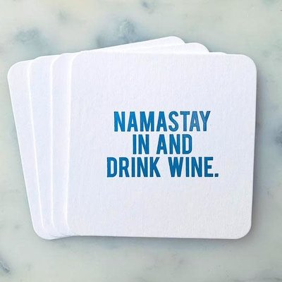Sipping This Namastay In & Drink Wine Coaster Pack