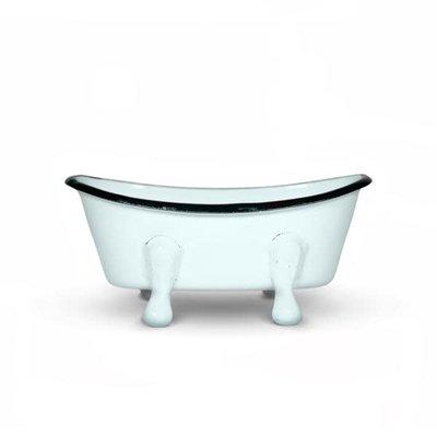FinchBerry Farmhouse Blue/Aqua Metal Bathtub Soap Dish