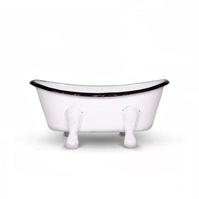 FinchBerry Farmhouse White Metal Bathtub Soap Dish