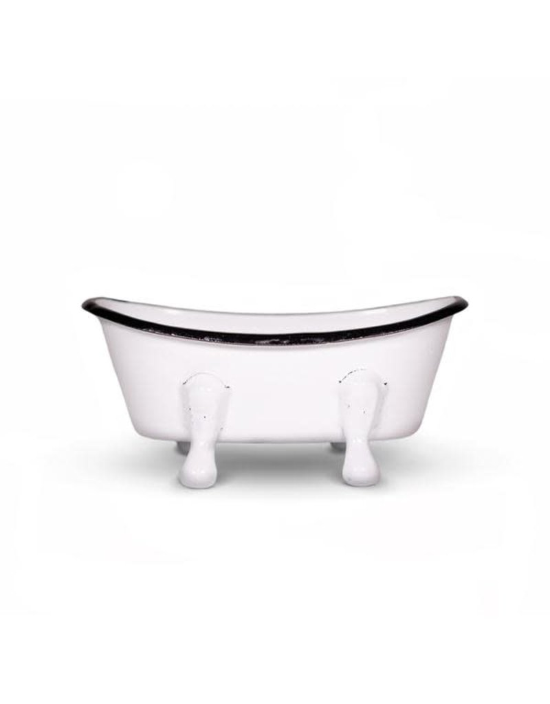 FinchBerry Farmhouse White Metal Bathtub Soap Dish