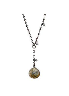 VB & Co. Designs Tiger Eye & Labradorite Y Shape Necklace