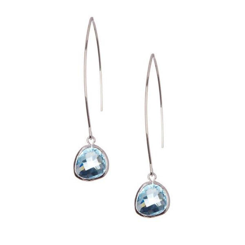 Rebecca Accessories Sterling Gemstone Thread Through Earrings