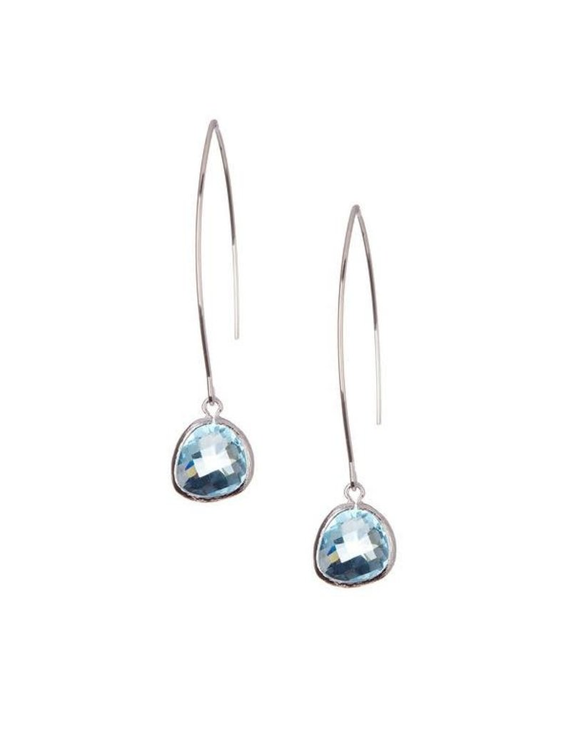 Rebecca Accessories Sterling Gemstone Thread Through Earrings