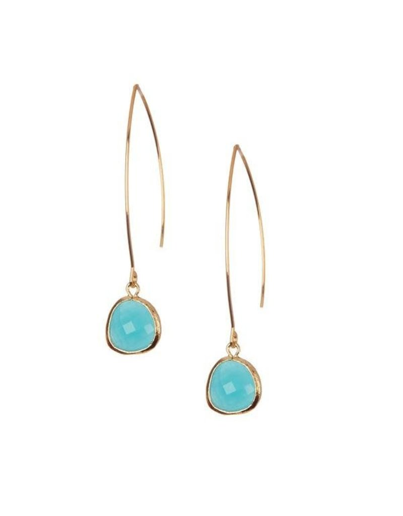 Rebecca Accessories 14K Gold Fill Gemstone Thread Through Earrings