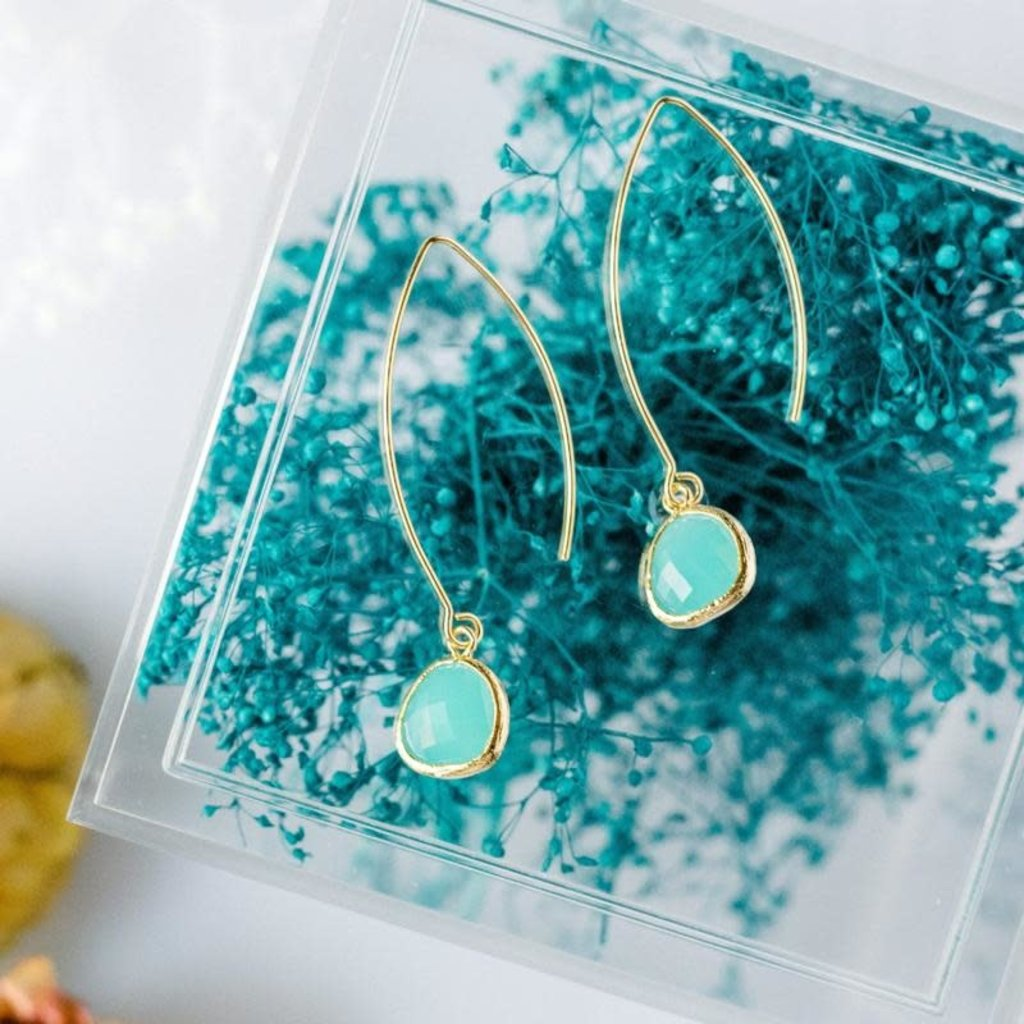 Rebecca Accessories 14K Gold Fill Gemstone Thread Through Earrings