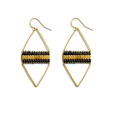 Didi Jewerly Project Brass + Gunmetal Diamond Bead Earring
