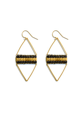 Didi Jewerly Project Brass + Gunmetal Diamond Bead Earring