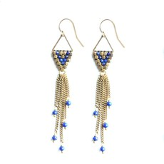 Didi Jewerly Project Brass Lapis Rain Drop Tassel Earring
