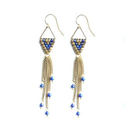 Didi Jewerly Project Brass Lapis Rain Drop Tassel Earring