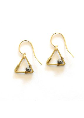 Didi Jewerly Project Brass Triangle Pyrite Bead Earring