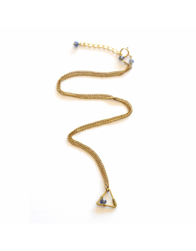 Didi Jewerly Project Brass Triangle Pyrite Bead Necklace