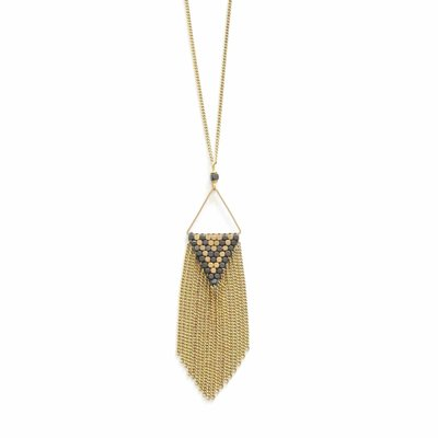Didi Jewerly Project Brass Diamond Fringe Necklace
