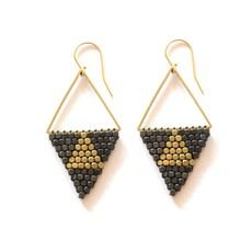Didi Jewerly Project Mixed Metal Triangle Bead Earring