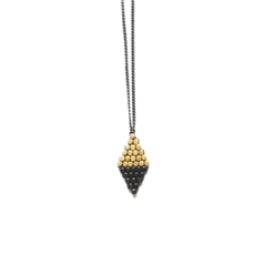 Didi Jewerly Project Brass Color Block Diamond Necklace