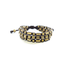 Didi Jewerly Project Brass Black Triple Bead Pull Bracelet