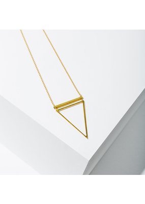 Larissa Loden Gold Chain Barred Triangle Necklace