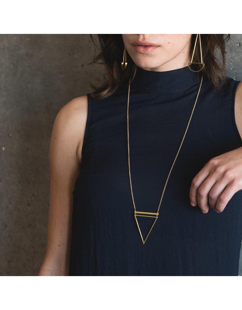Larissa Loden Black Chain Barred Triangle Necklace