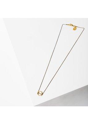 Larissa Loden Brass Open Hexagon Polymath Necklace