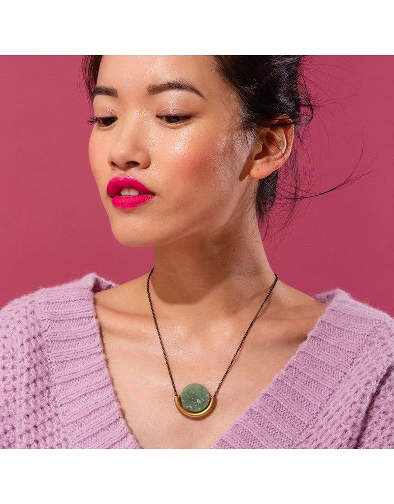 Larissa Loden Rose Quartz Sun & Moon Silver Necklace