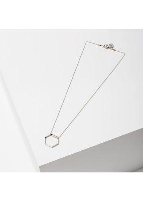Larissa Loden Silver Small Hexagon Horizon Necklace