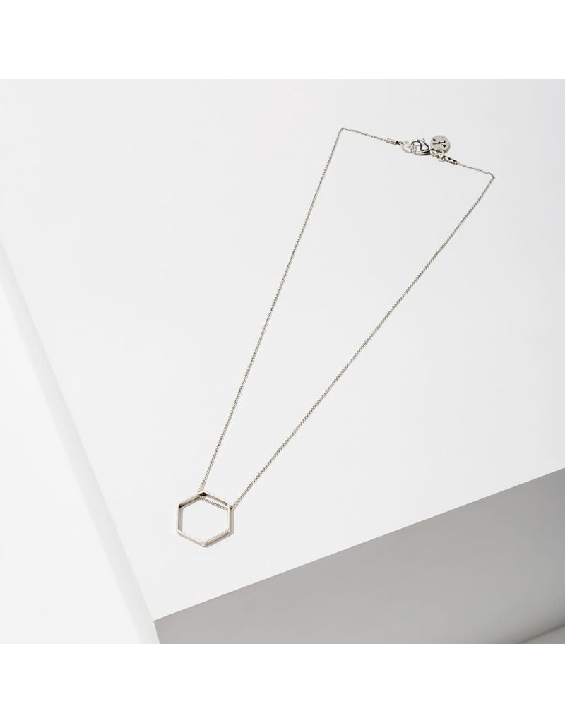 Larissa Loden Silver Small Hexagon Horizon Necklace