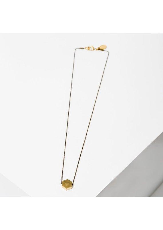 Larissa Loden Brass Hexagon Polymath Necklace