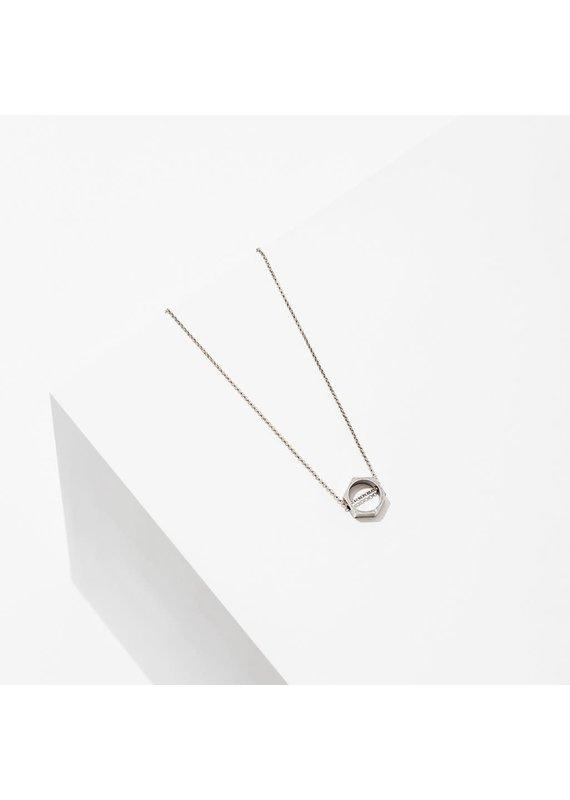 Larissa Loden Silver Open Hexagon Polymath Necklace