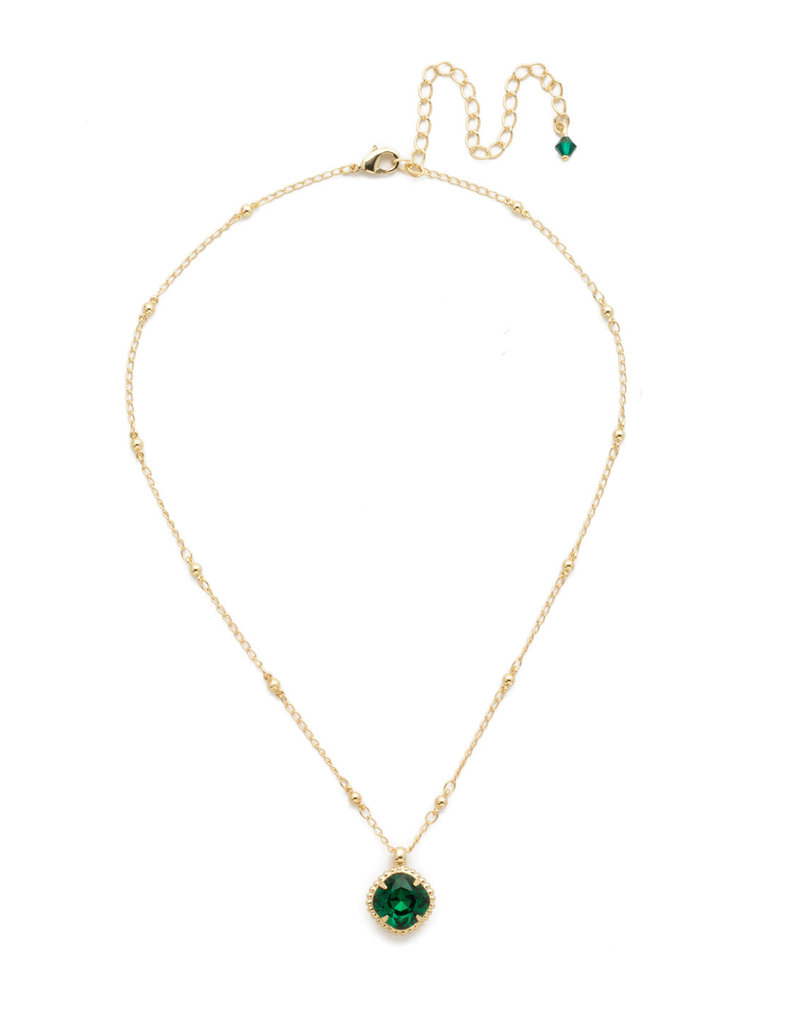 Sorrelli Emerald Cushion-Cut Solitaire Necklace