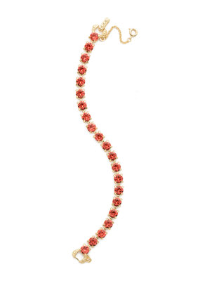 Sorrelli Coral Repeating Round Crystal Line Bracelet