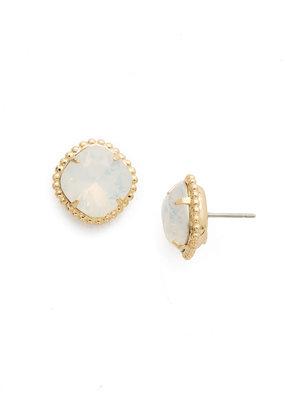 Sorrelli White Opal Cushion-Cut Solitaire Earring