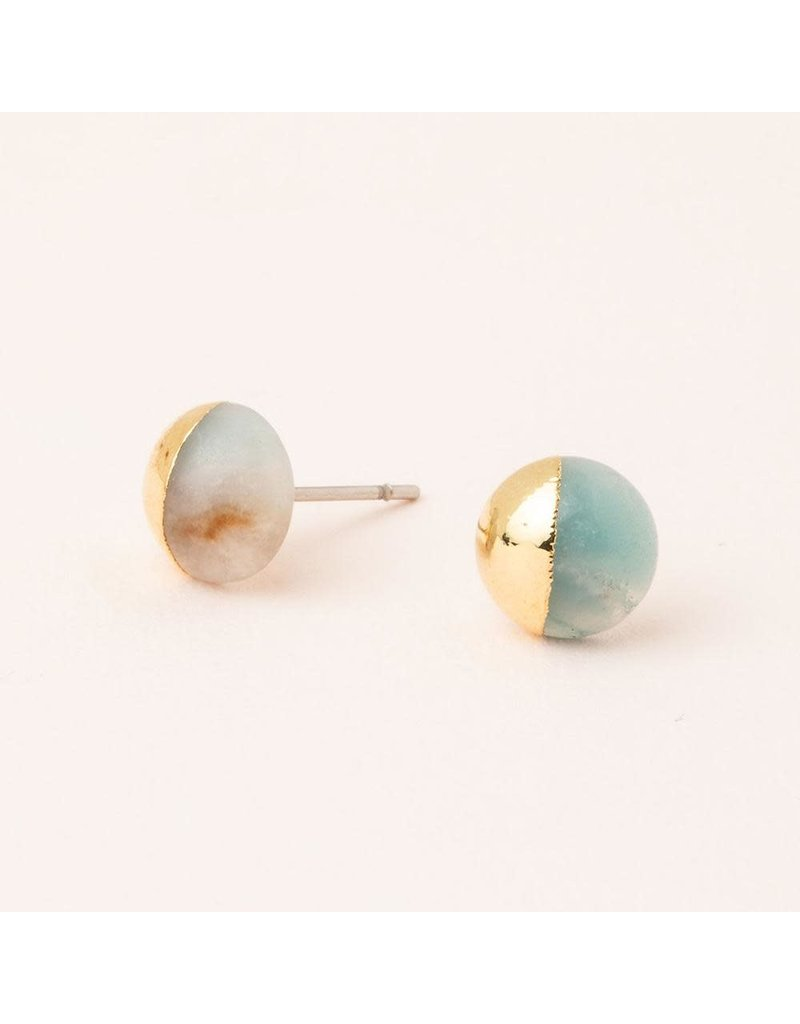 Scout Amazonite Gold Dipped Stone Stud Earring