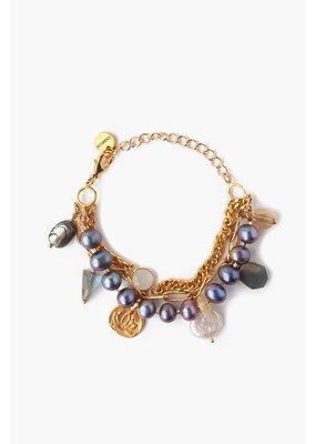 CHAN LUU Gold Peacock Pearl Chain Link Bracelet