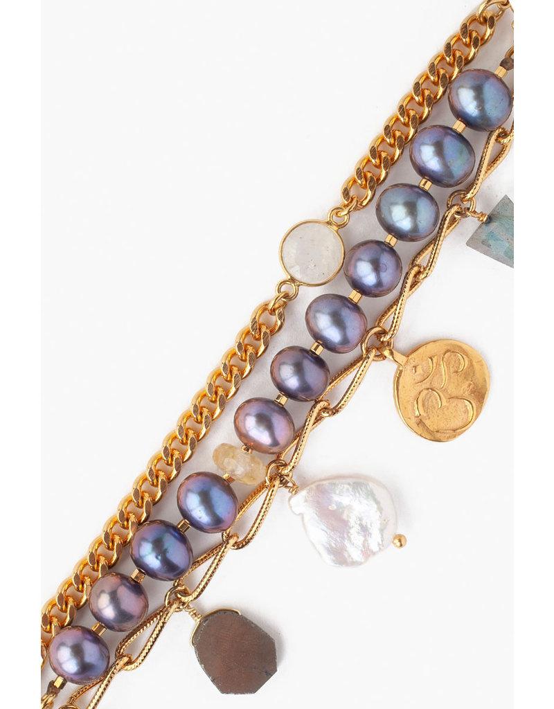 CHAN LUU Peacock Pearl Chain Link Bracelet